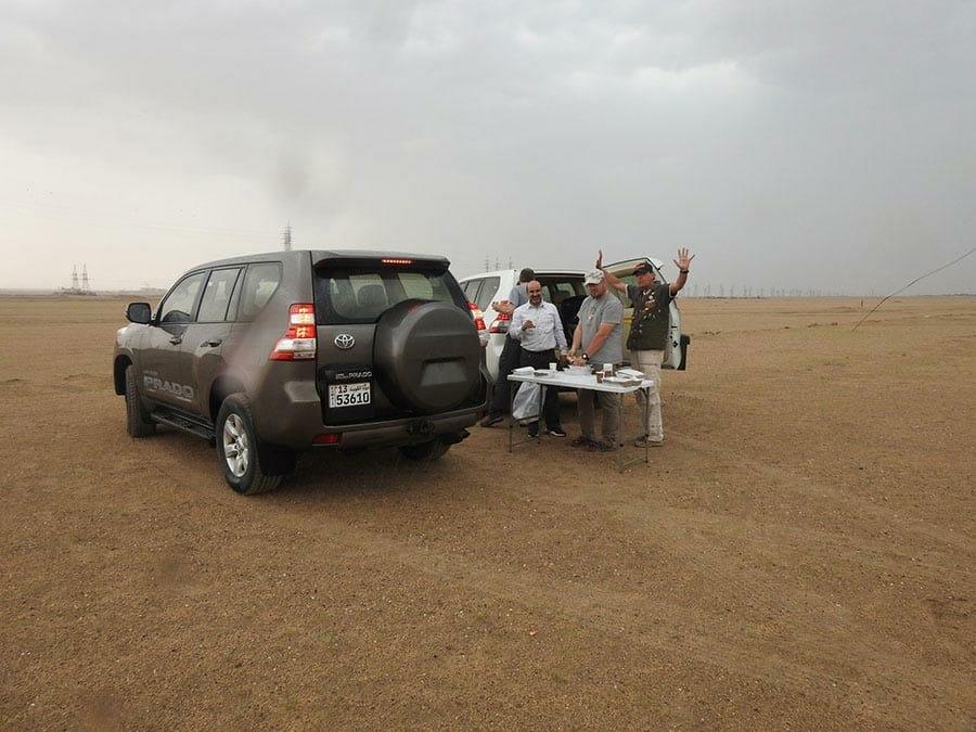 Having breakfast in the desert